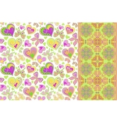 pattern set with butterflies hearts vector image
