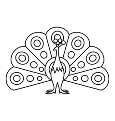 Peacock icon outline style vector image