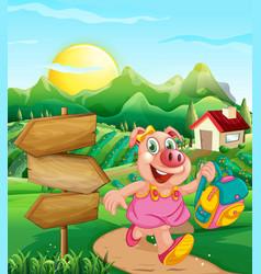 Pig at rural house vector