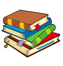 Pile four old books vector