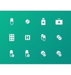 Pills medication icons on green background vector image