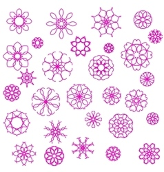 Pink Flower Icons vector image