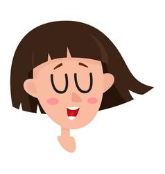 Pretty dark brown hair woman laughing facial vector