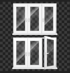 realistic 3d detailed white plastic pvc window set vector image