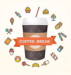 realistic 3d paper cup coffee break concept vector image