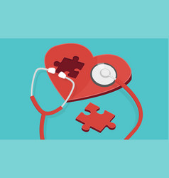 red puzzle heart with stethoscope isolated blue vector image