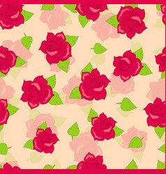 Red rose with green leaves seamless pattern vector