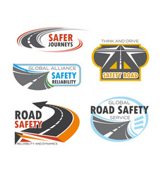 road and traffic safety service symbol set design vector image