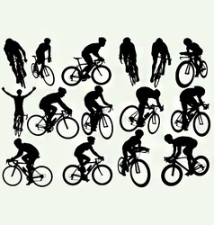 Road racing cycling silhouettes vector