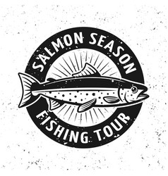 salmon season fishing tournament emblem vector image