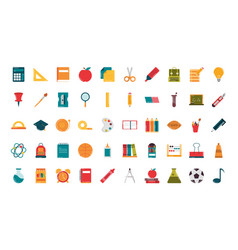 school education supply class stationery flat vector image