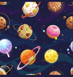 Seamless pattern with cartoon fantasy food planets vector