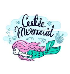 set of beautiful mermaids with pink hair vector image