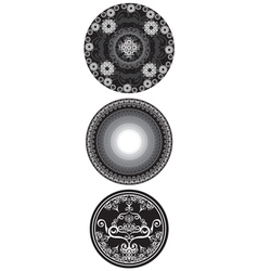 Set of black and white mandala vector
