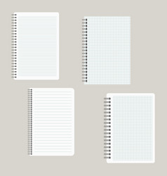 set of four notepads with a binding from left side vector image