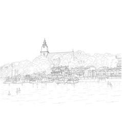 Sketch city embankment vector