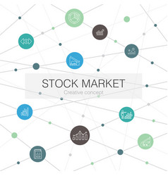 Stock market trendy web template with simple icons vector