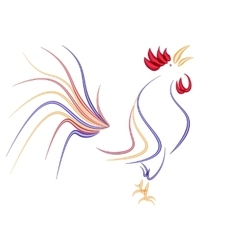 Stylized rooster isolated on a white background vector image