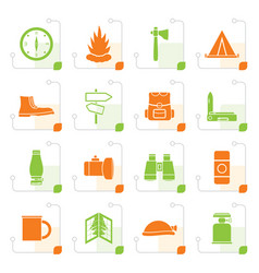 stylized tourism and holiday icons vector image