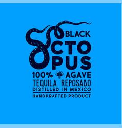 Tequila label packaging design octopus tentacles vector