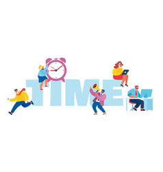 Time management concept tiny businesspeople with vector
