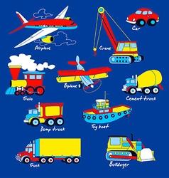Transport set on blue background vector image