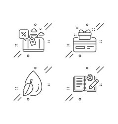 Travel loan water drop and loyalty card icons set vector