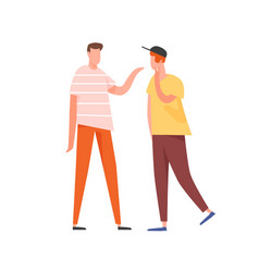 Two young people speaking together teenage vector