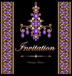 Vintage frame with precious stones and gold vector
