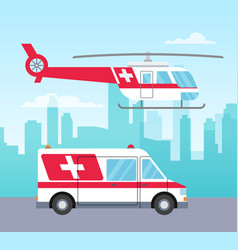 white and red ambulance helicopter and car vector image