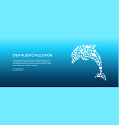White dolphin shape made plastic bottles and vector