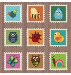 wildlife stamps vector image