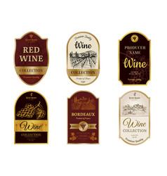 Wine vintage labels alcohol champagne drinks vector