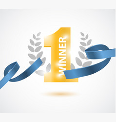 winner number one background with blue ribbon vector image