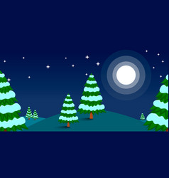 winter landscape with pine trees in cartoon style vector image