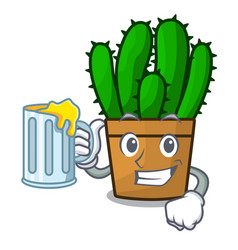 With juice spurge cactus plant isolated on mascot vector