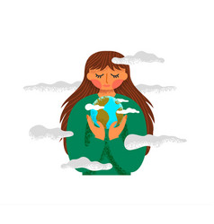 woman holding green planet earth isolated vector image