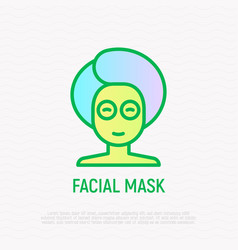 woman with facial mask thin line icon vector image