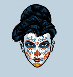 Women head wearing sugar skull face make up vector