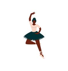 Young african american female ballerina dancing vector