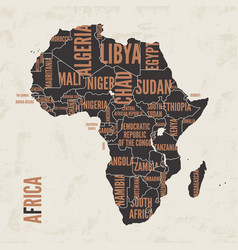 africa vintage detailed map print poster design vector image