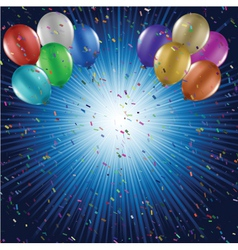 Balloons and confetti vector image vector image