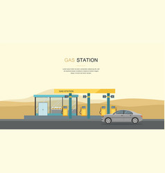 gray car at the gas station in the desert vector image vector image