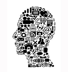 head with black icon Background vector image vector image