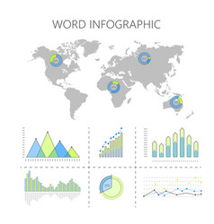 world infographics with graphs and diagrams vector image
