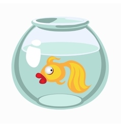 Cartoon golden fish in aquarium vector image vector image