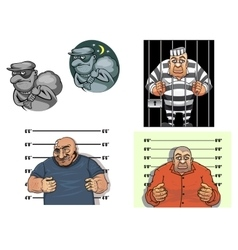 Cartoon thief robber gangster and prisoner vector image vector image