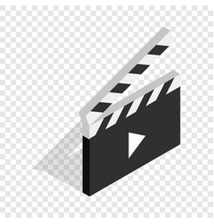 clapperboard open with play button isometric icon vector image