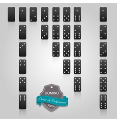 Domino black set of 28 pieces vector image