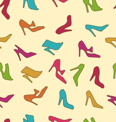 Seamless Texture with Colorful Women Footwear vector image vector image